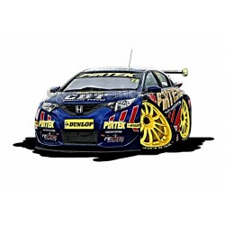 Honda Pirtek Racing BTCC Cartoon Caricature