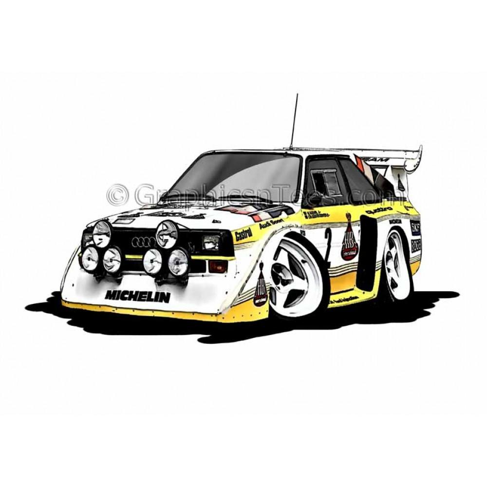 Audi Quattro S1 E2 Group B Rally Car Cartoon Caricature