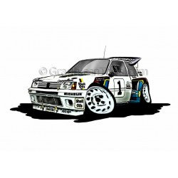 Peugeot 205 GTI T16 Group B Rally Car Cartoon Caricature