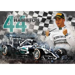 Lewis Hamilton Formula 1 F1 World Champion A4 Print