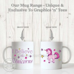 I Believe in Unicorns Brilliant Fun Quote Printed on Quality White Ceramic 110z Tea Coffee Mug
