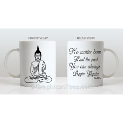 Buddha Inspirational Quote, Always Begin Again Printed on Quality 11oz Ceramic Mug