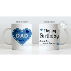 Best Dad Ever Quote in Heart Design, Personalised Birthday Gift for Dad Mug with Lots of Love