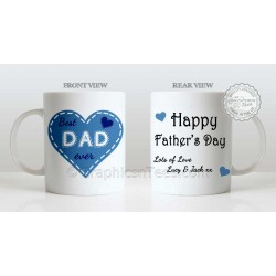 Best Dad Ever Quote in Heart Design, Personalised Father's Day Gift for Dad Mug with Lots of Love