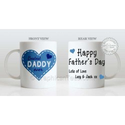 Best Daddy Ever Quote in Heart Design, Personalised Father's Day Gift for Dad Mug with Lots of Love
