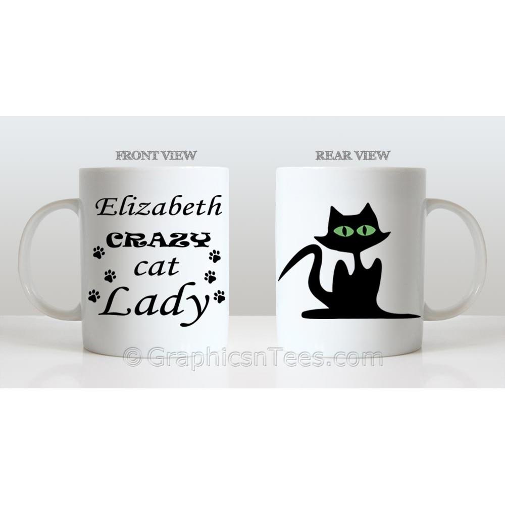 Personalised Crazy Cat Lady Mug, Fun Novelty Gift Ideal ...