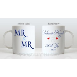 Mr & Mr Personalised Wedding Gift Mug Personalised with Names and Wedding Date Ideal Unique Gift
