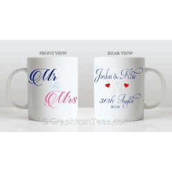 Mr & Mrs Personalised Wedding Gift Mug Personalised with Names and Wedding Date