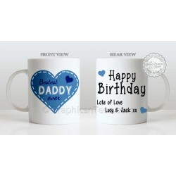 Best Dad Ever Quote Bestest Daddy in Heart Design, Personalised Birthday Gift for Dad Mug with Lots of Love