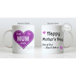 Best Mum Ever Quote in Heart Design, Personalised Mother's Day Gift for Mum Mug with Lots of Love