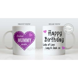 Best Mum Ever Quote Bestest Mummy  in Heart Design, Personalised Birthday Gift for Mum Mug with Lots of Love
