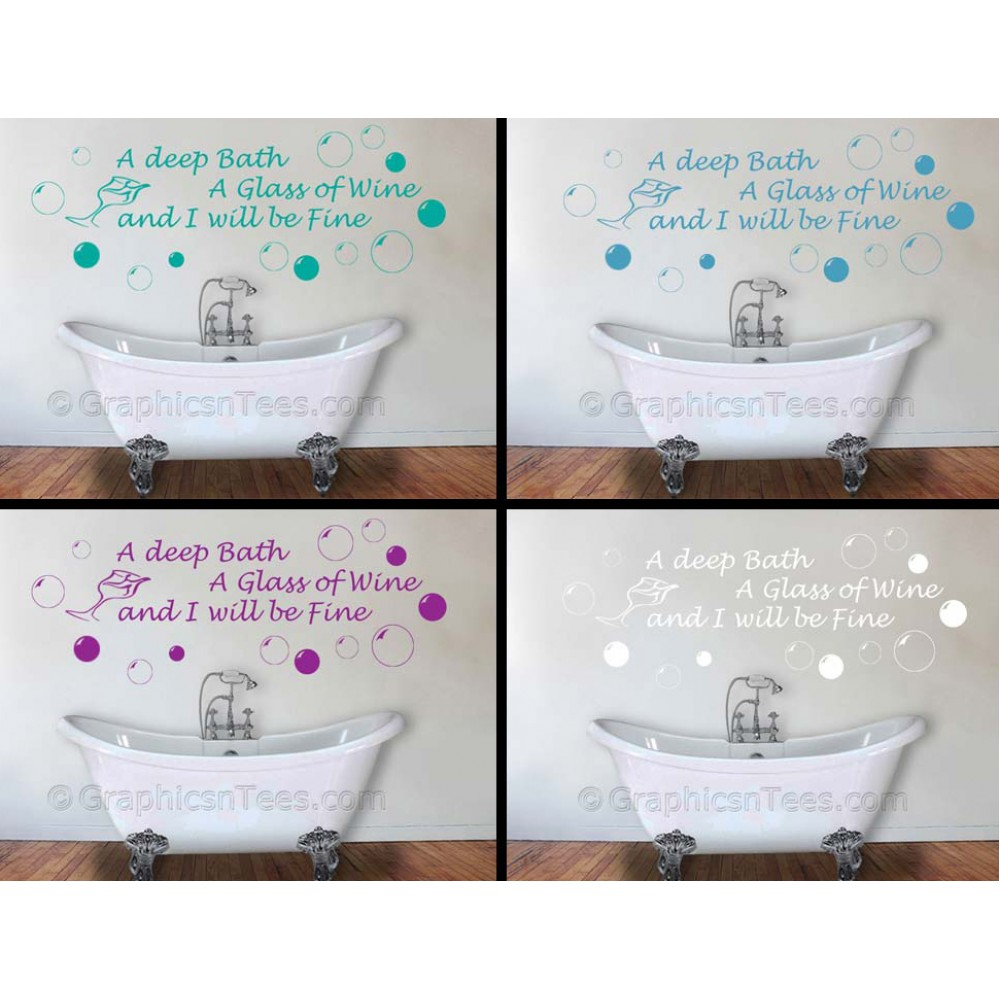 Bathroom Wall Sticker Deep Bath Glass Of Wine Quote Decor Decal