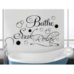 Bathe Soak Relax Bathroom Wall Art Sticker Quote Vinyl Mural Decor Decal with Bubbles