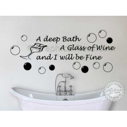 Bathroom Wall Sticker, Deep Bath Glass of Wine Quote Decor Decal