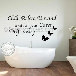 Chill Relax Unwind Bathroom Wall Sticker Inspirational Quote with Butterflies
