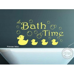 Bath Time Wall Art Sticker Quote Vinyl Mural Decor Decal with Ducks and Bubbles