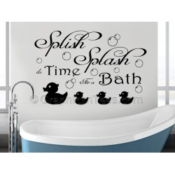 Bathroom Wall Sticker Quote, Splish Splash Bath Time, Wall Mural Decal