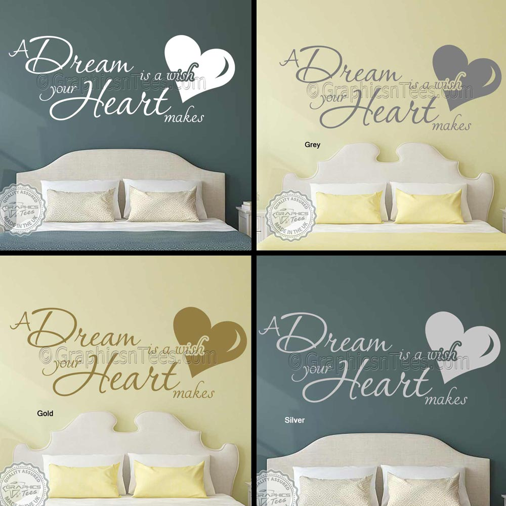 A Dream Is A Wish Your Heart Makes Romantic Bedroom Wall Sticker Quote -8685