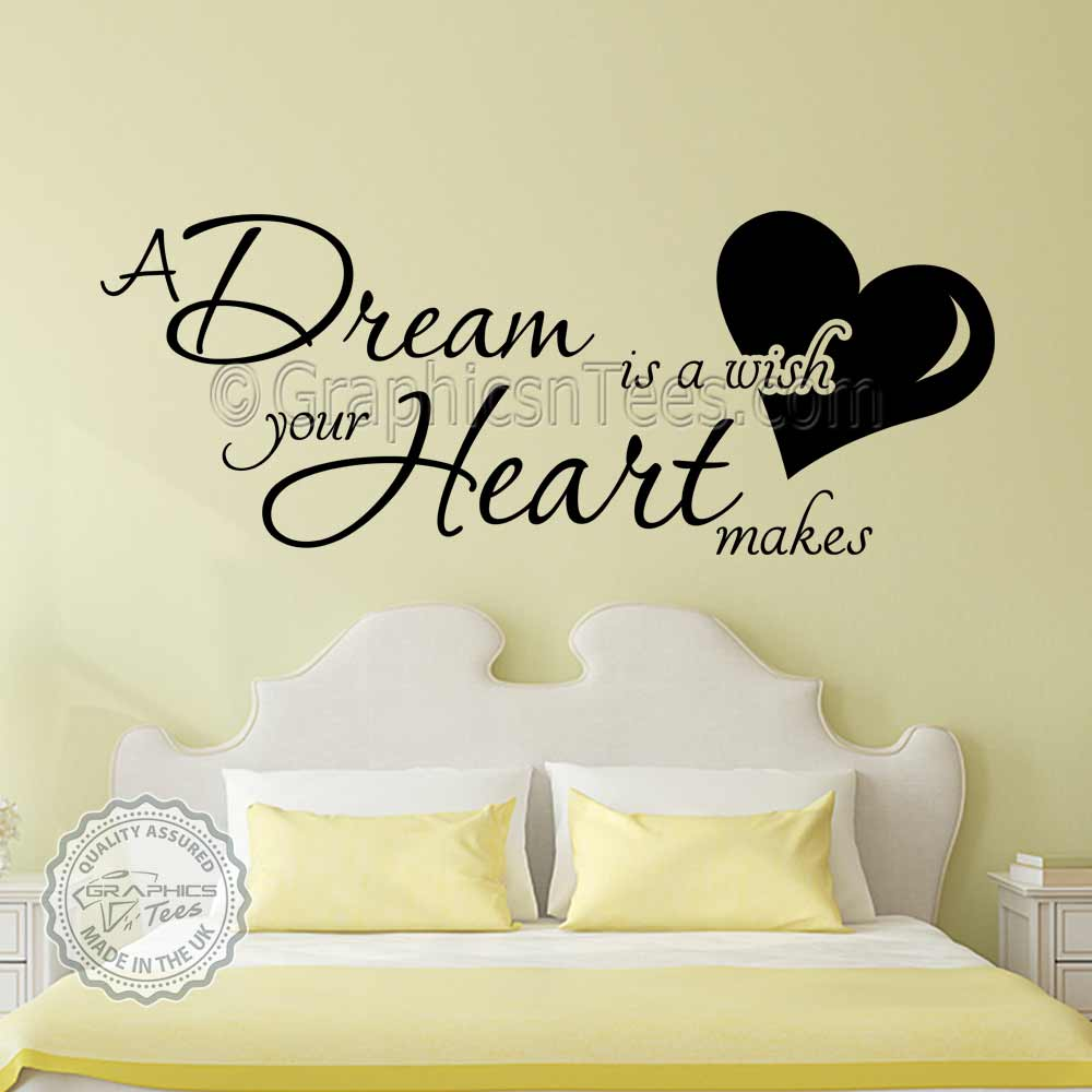 A Dream Is A Wish Your Heart Makes Romantic Bedroom Wall Sticker Quote Home Wall Art Decor Decals