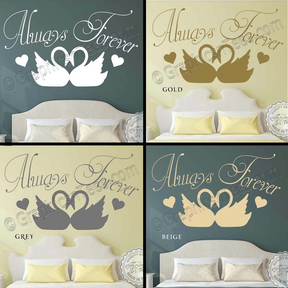 Always Forever Romantic Bedroom Wall Sticker Quote With Swans Decor Decals-7938