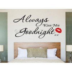 Bedroom Wall Sticker, Always Kiss Me Goodnight with Red Kiss Lips,