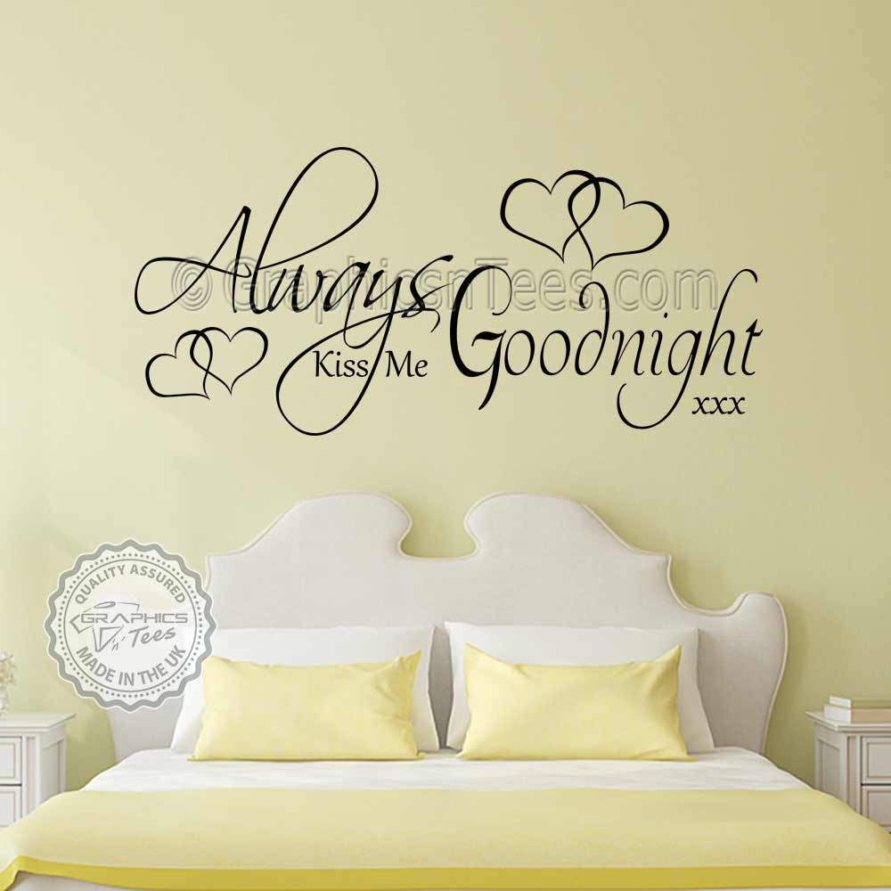 Always Kiss Me Goodnight Bedroom Wall Sticker Romantic Love Quote Decor -3331