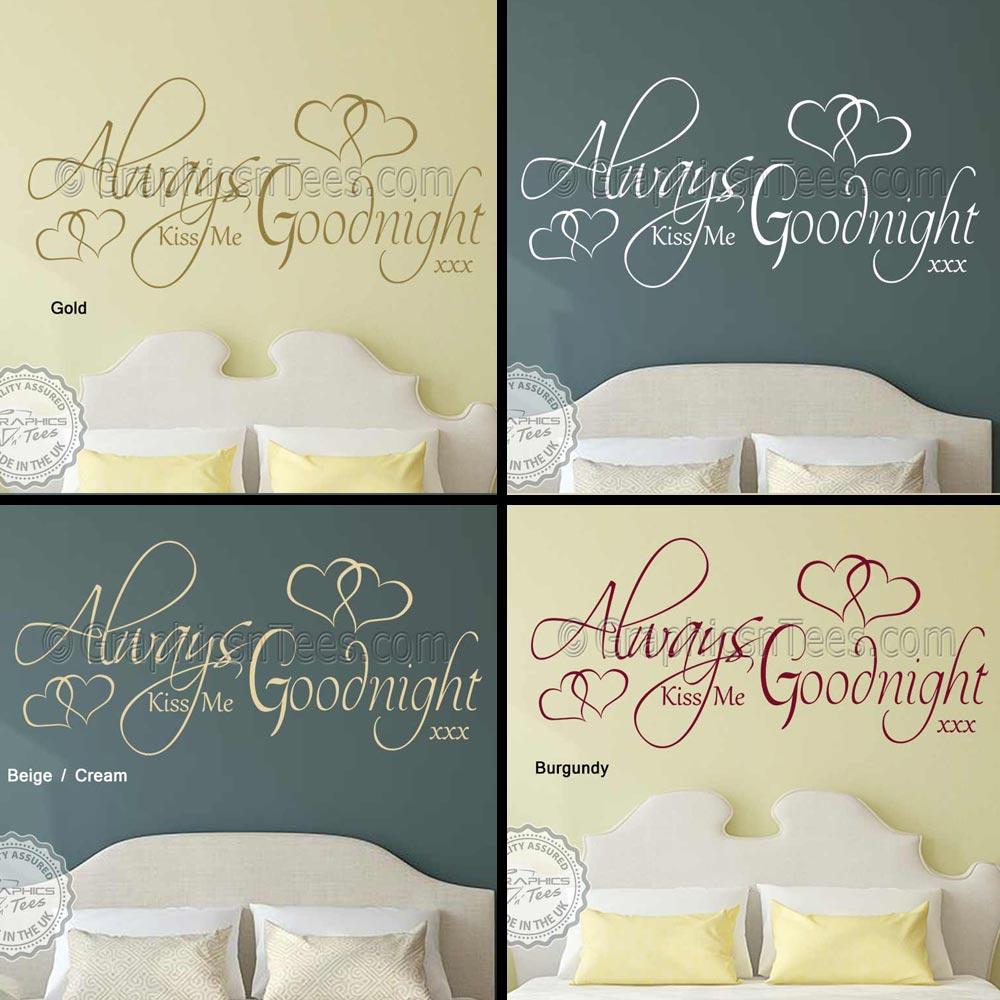 Always Kiss Me Goodnight Bedroom Wall Sticker Romantic