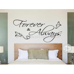 Forever and Always Bedroom Wall Sticker, Romantic Love Quote Decal with Doves