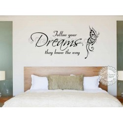 Follow Your Dreams Inspirational Quote, Family Wall Sticker Vinyl Mural Decal With Butterfly