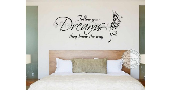 follow your dreams inspirational quote, family wall sticker vinyl