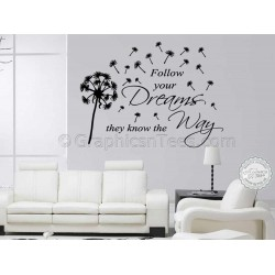 Follow Your Dreams Inspirational Quote, Family Wall Sticker Vinyl Mural Decal With Dandelion Blowing in Wind
