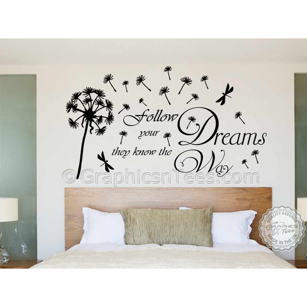 Follow Your Dreams With Dandelion In Wind Inspirational Wall Sticker Quote