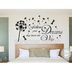 Follow Your Dreams, with Dandelion in Wind, Inspirational Wall Sticker Quote