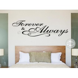Forever and Always Bedroom Wall Sticker, Romantic Love Quote Decal