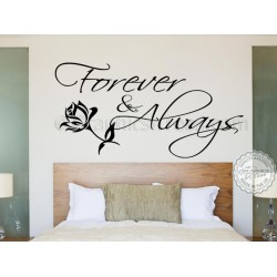 Forever and Always Bedroom Wall Sticker, Romantic Love Quote Decal with Rose