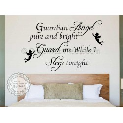 Guardian Angel Pure and Bright, Bedroom Wall Art Mural Sticker Decals Quote