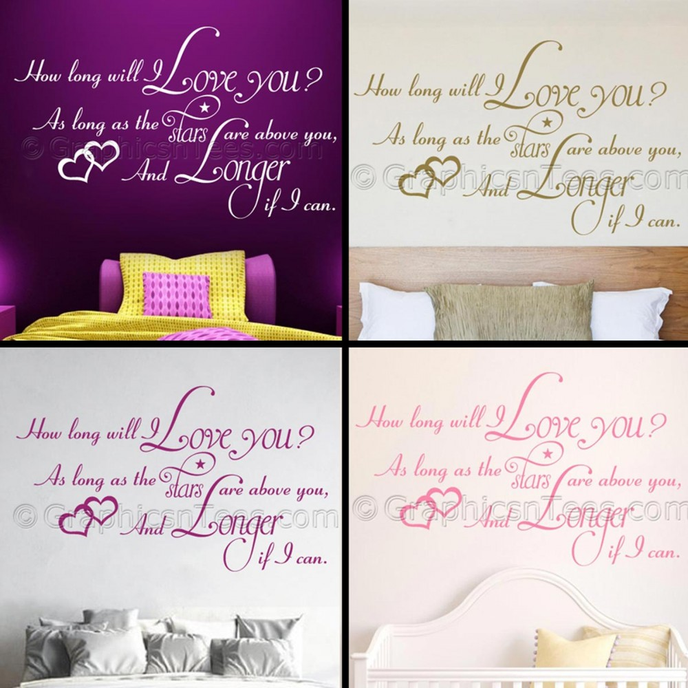 Romantic I Love You Quotes Bedroom Wall Sticker How Long Will I Love You Romantic Love Quote