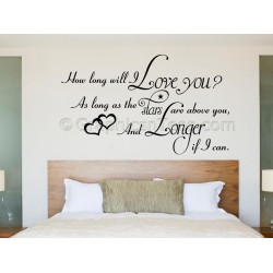 Bedroom Wall Sticker, How Long Will I Love You, Romantic Love Quote