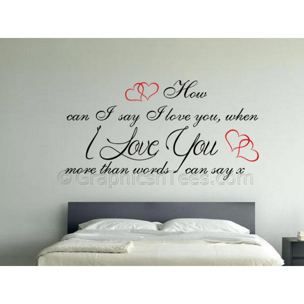 Love You More Than Words Can Say Romantic Bedroom Wall Sticker Love