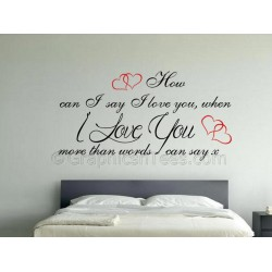 Love You More Than Words Can Say, Romantic Bedroom Wall Sticker Love Quote, with Red Hearts