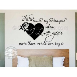 Romantic Bedroom Wall Art Sticker Quote, Love More Than Words Can Say Wall Decor Decal