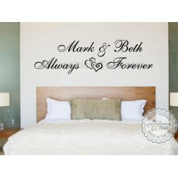 Personalised Always Forever Bedroom Wall Sticker, Romantic Love Quote Decor Decal