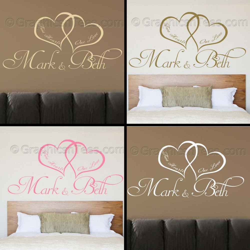 Personalised Bedroom Wall Sticker Two Hearts One Love