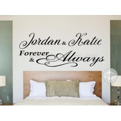 Forever & Always Personalised Bedroom Wall Sticker, Romantic Love Quote Vinyl Decal