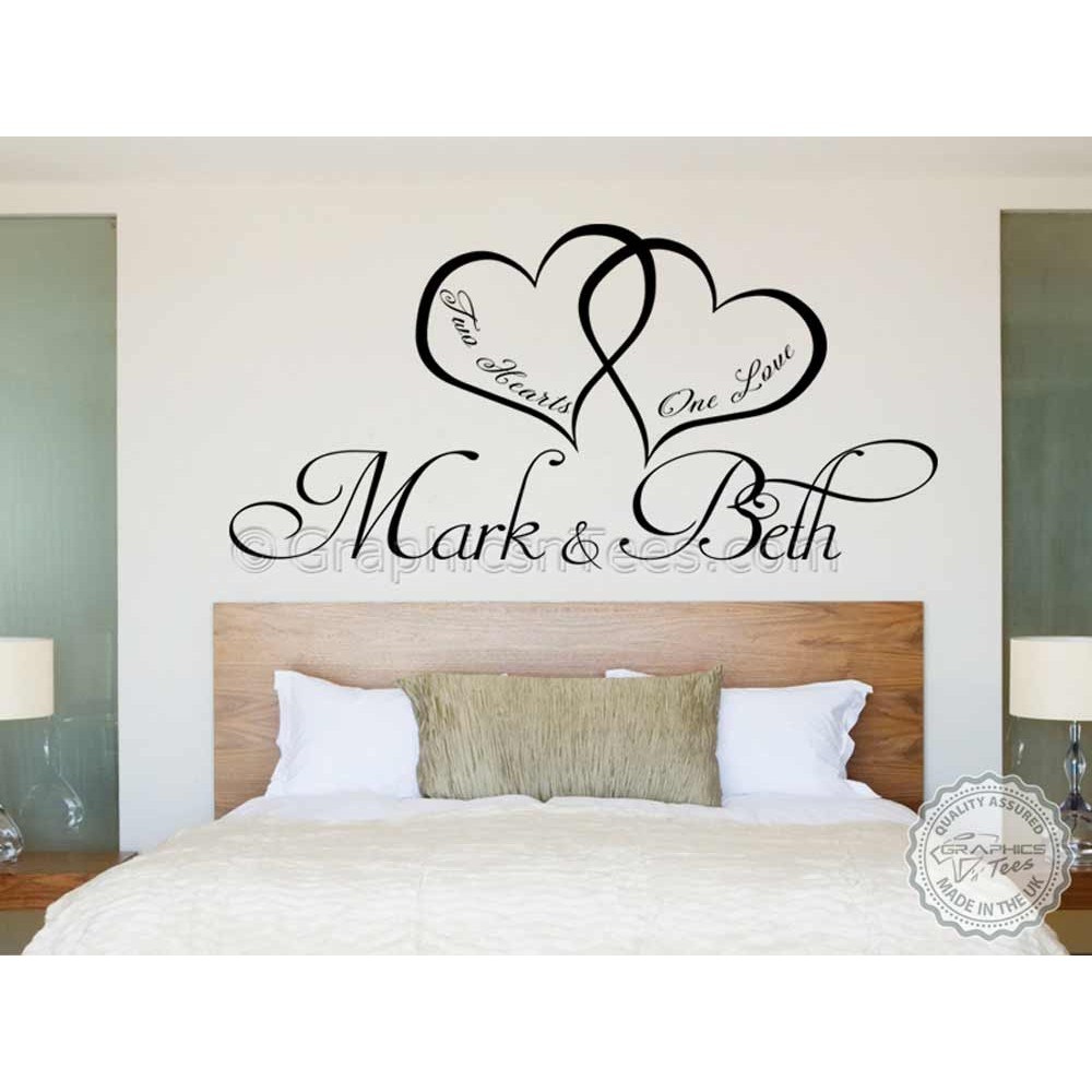 Personalised bedroom wall sticker two hearts one love for Bedroom wall art