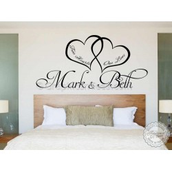 Personalised Bedroom Wall Sticker, Two Hearts One Love, Romantic Love Quote