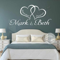 Personalised Bedroom Wall Sticker, Together Forever Romantic Love Quote Decor Decal