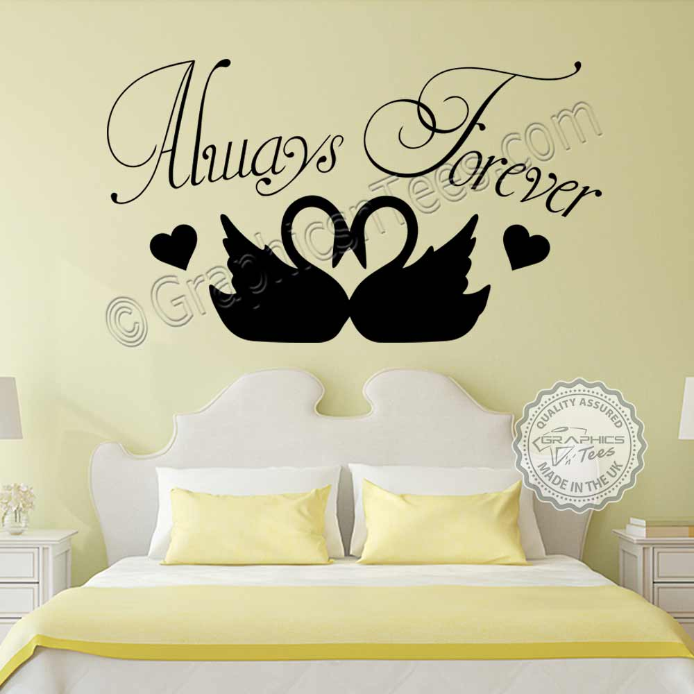 Romantic Bedroom Wall Decor: Always Forever Romantic Bedroom Wall Sticker Quote With