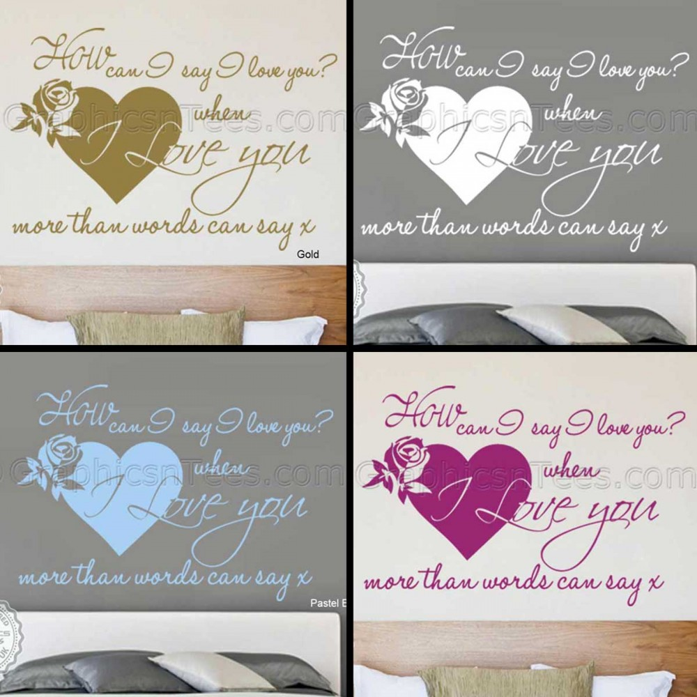 Romantic Bedroom Wall Art Sticker Quote Love More Than Words Can