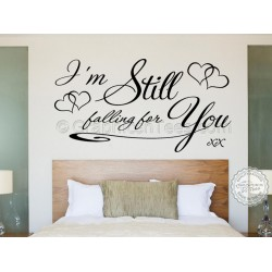 Still Falling For You Bedroom Wall Sticker, Romantic Love Quote Decal